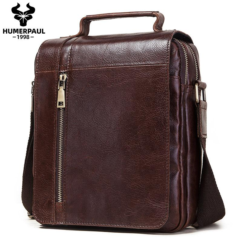 Borsa a tracolla casual da uomo in vera pelle vintage borse crossbody da crossbody di alta qualità di alta qualità Borse a tracolla per viaggi