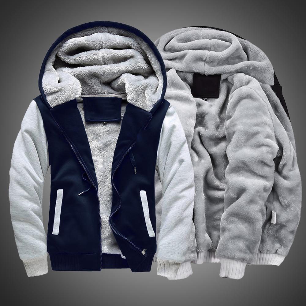 2020 vestes veste Hoodies hiver chaud fourrure doublée bouteille glissière à capuchon mâle sweat-shirt hommes colorblock pour manteau ipqvp