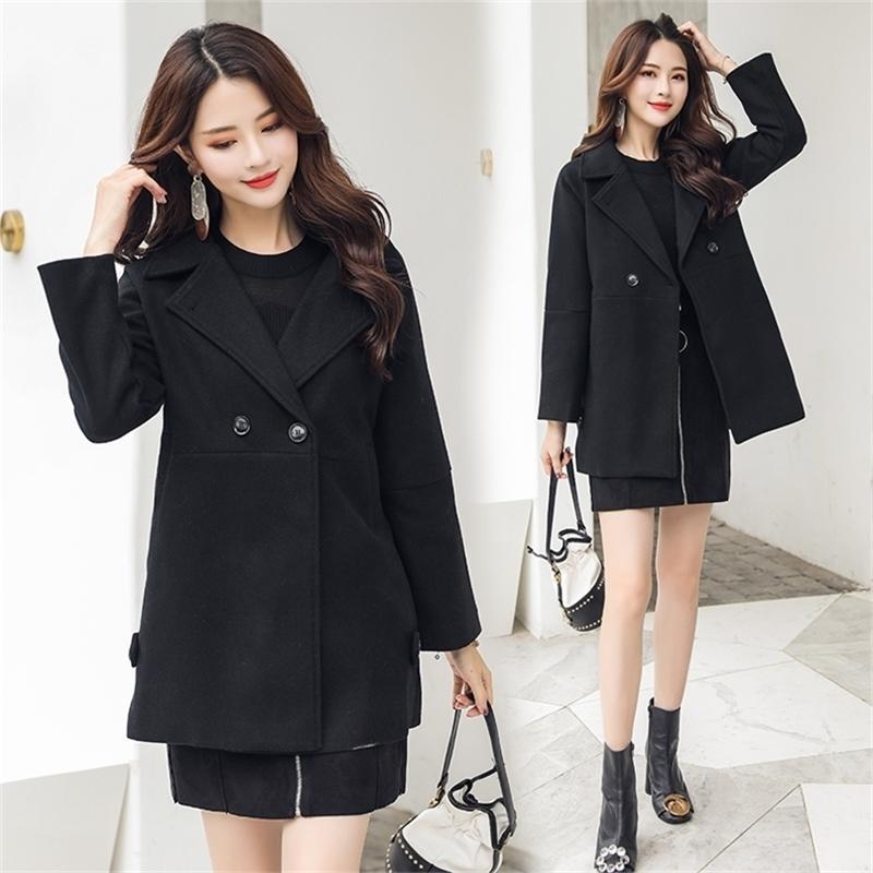 Черное пальто для ткани Зима Новое HAN Edition Платье в длинной свободной шерстяной шерсти Тип Cocoon Part 201215