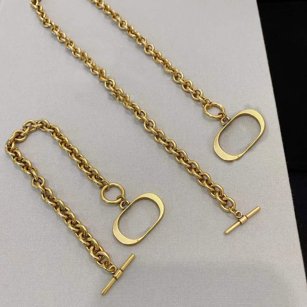 Fashion letter gold chain necklace bracelet for mens and women Party lovers gift hip hop jewelry With BOX