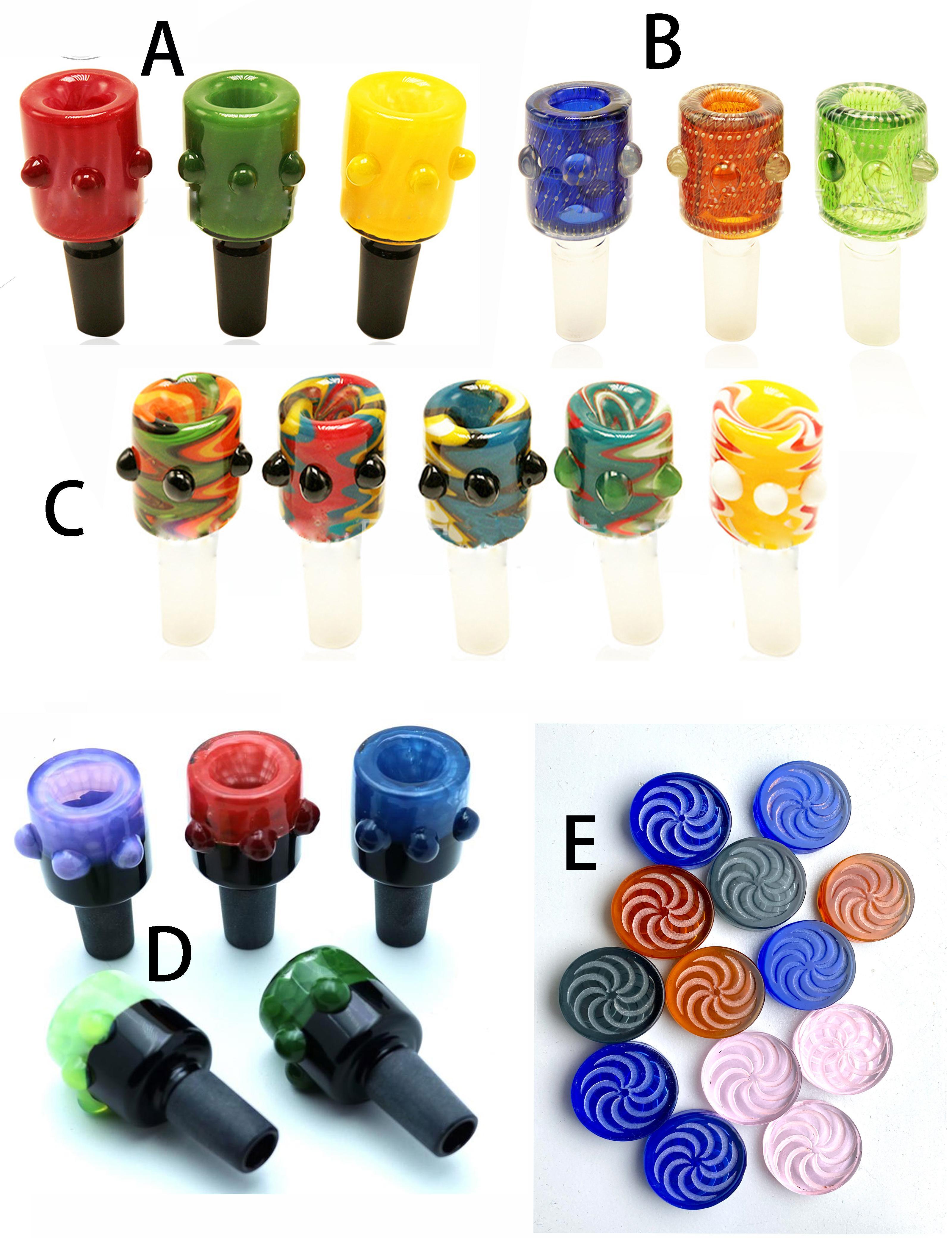 Colorful Canale Bolla Carb Cap Glass Bowl Quartz Quarzo Banger Nail Narch Narchè Accessori per fumo Flower Pattern Design per top piatto per Bong di vetro