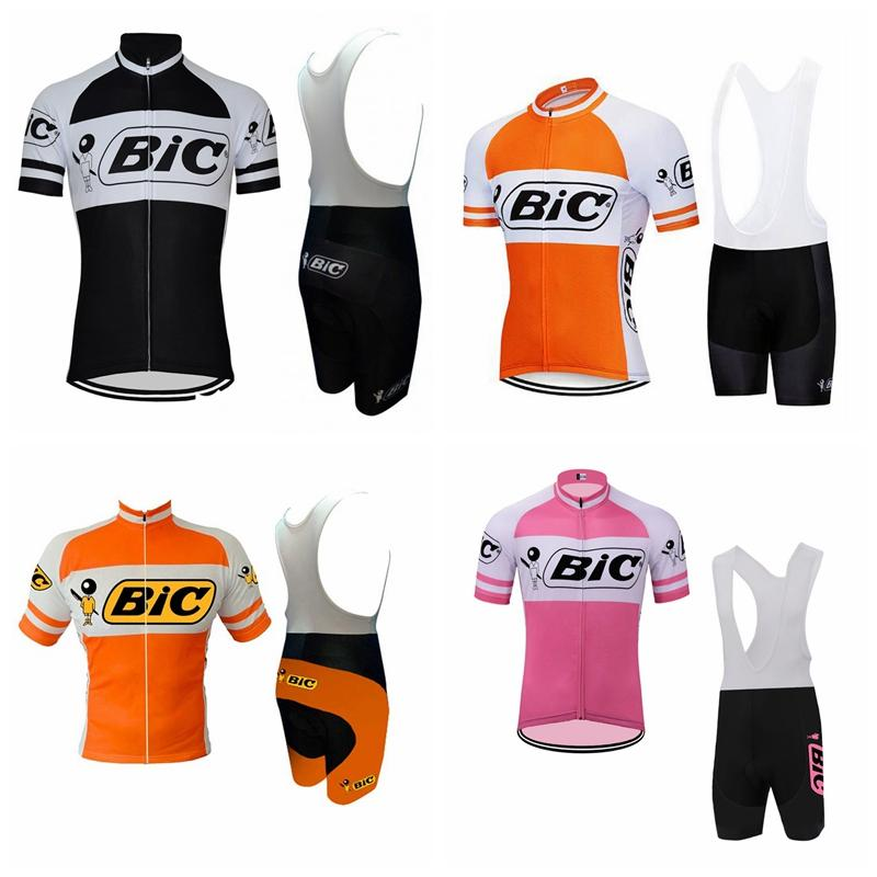 BIC team Pro Cycling Short Sleeves jersey bib shorts sets mens bicycle clothing uniform MTB Ropa Ciclismo Maillot Culotte 3D gel pad 102304