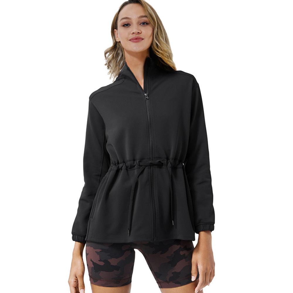 New Jacke Frauen Langarm-Zip Fitness Yoga-Hemd Top Workout Gym Active Hoodie Sport Laufsport Coats Training Bekleidung