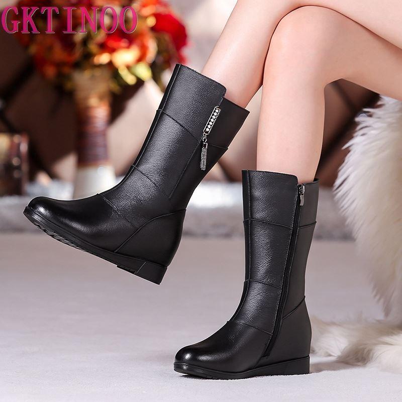 Gktinoo madre madre señoras hembra cuero genuino medio becerro zapatos botas de invierno piel pelusa peluche cremallera caliente talla grande 35-42