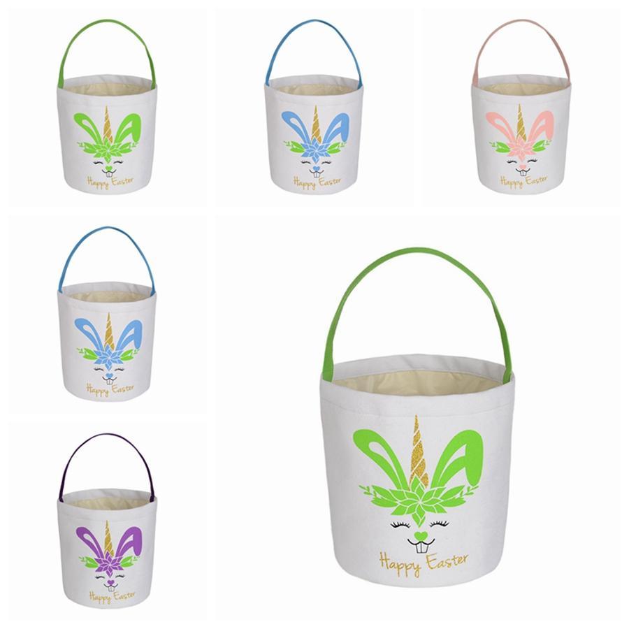 In Stock Easter Bunny Bag Burlap Tote Printed Rabbit Handbag Easter Egg Basket Put Gift Storage DIY Party Favor SEASHIPPING LJJP834-2