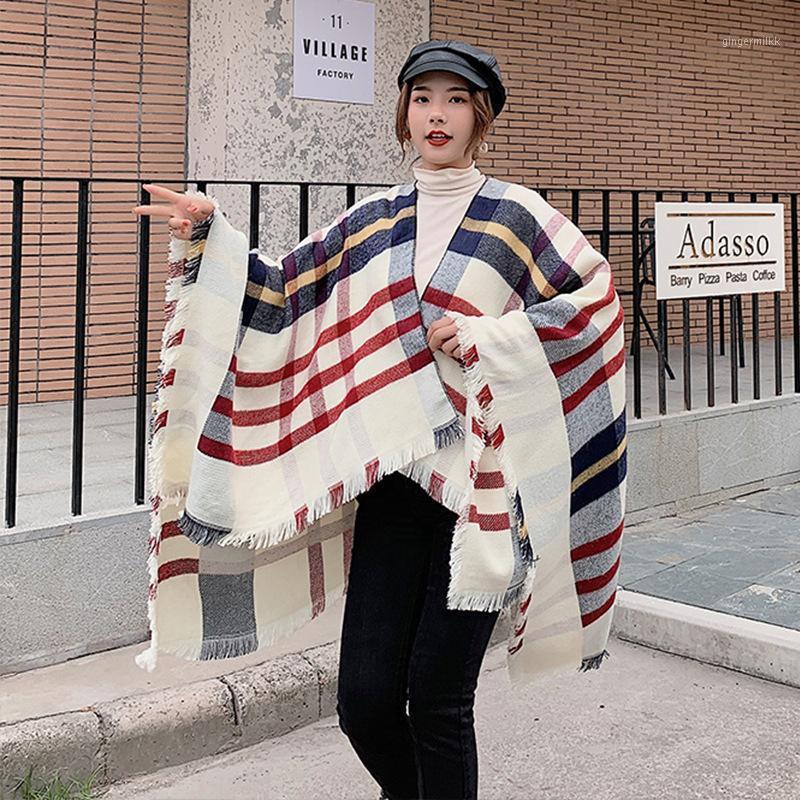Sciarpe split scialle donna autunno autunno inverno mantello marca nappe studente lunghe super grande mantello caldo short sciarpa a doppio uso coperta versatile