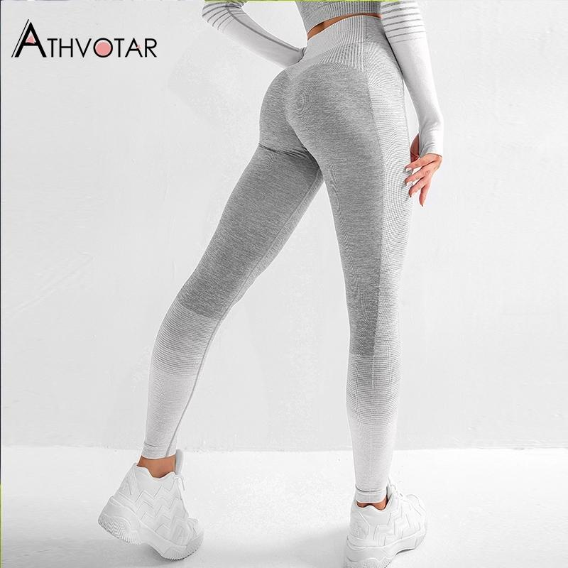 Legginings dei fitness senza cuciture Le donne spingono le leggins di Activewear Leggins Mujer Knitting Workout Jegging femme Y200904