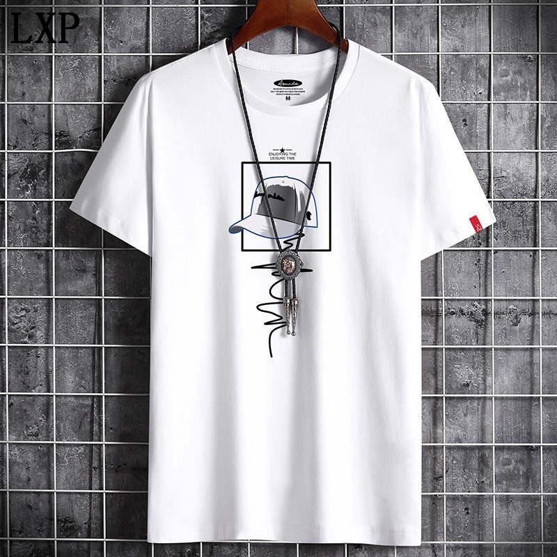 Футболка Summer New высокого качества мужчин вскользь с коротким рукавом о-образным вырезом 100% хлопок футболки мужчин бренд белый черный футболка B-6