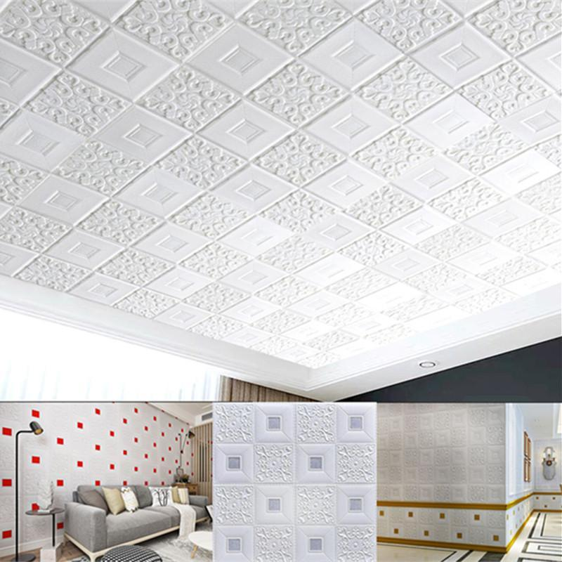 3D Wandaufkleber Decke Aufkleber Dachdekoration Schaum Tapete Stereo Wasserdichte DIY TV Hintergrund Tapete Dekoration Aufkleber