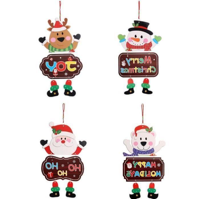 Porta de Natal Pendurar Decoração Papel Santa Snowman Elk Bear Design Pendurado Pingente Janela Casa Decoração de Natal Atacado