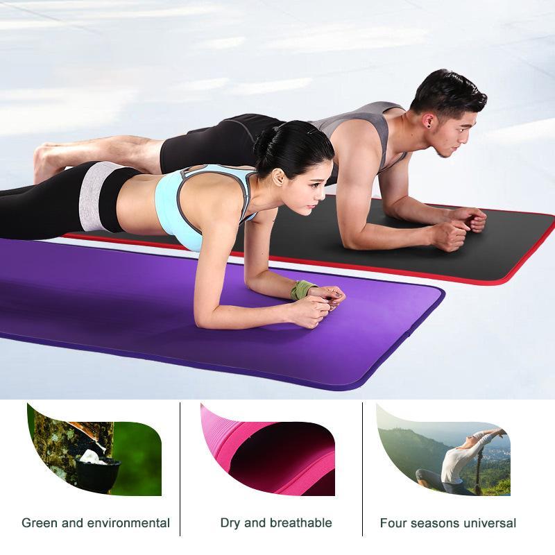 10mm espessado ioga antiderrapante esteira 183cmx61cm NBR fitness ginásio tapetes esportes almofada ginástica pilates pads com ioga saco strap lj201218