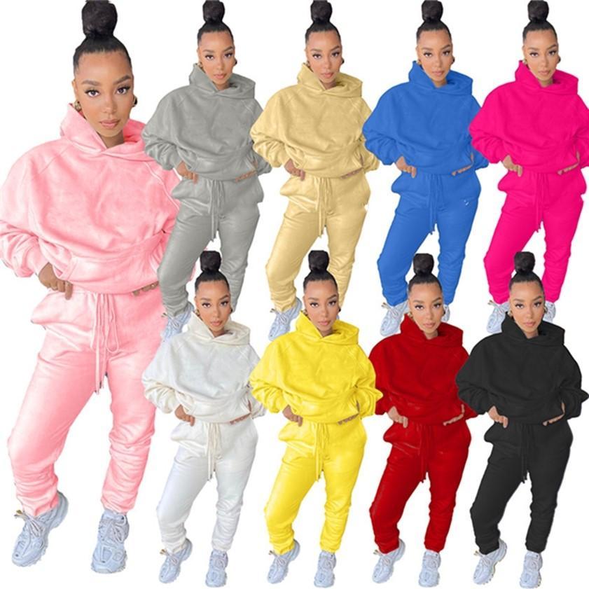 Frauen Fleece Trainingsanzüge Top + Hosen Dicke Outfits Zwei Teile Set Casual Sportswear Fall Winter Sweatsuit Langarm Kleidung 4031