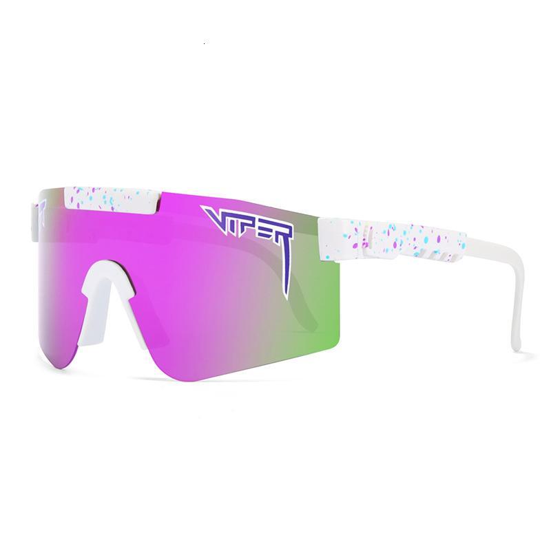 Designer Mode Classic Marke Gespiegelte grüne Linse Pit Viper Sonnenbrille Polarisierte Männer Sport Goggle TR90 Rahmen UV400 Schutz mit Fall 01
