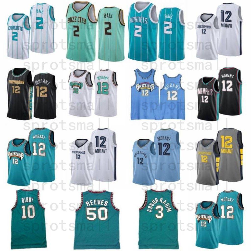 Ja 12 Morant Lamelo 2 Ball Mike 10 Bibby Basketball Jersey Mens Shareef 3 Abdur-Rahim 50 Reeves Retro Camisa de baloncesto verde