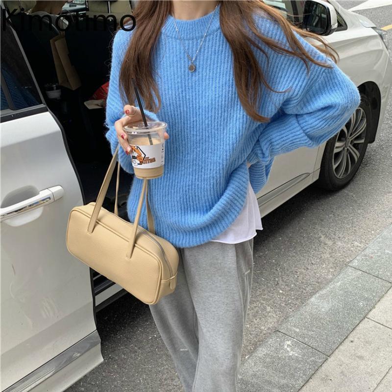 المرأة البلوزات كيموتيمو محبوك سترة المرأة طويلة الأكمام الصلبة البلوز الكورية الأزياء عالية الشارع فضفاض عارضة الخريف kawaii قمم