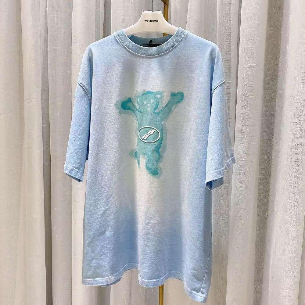 Welldone 2021SS Early Spring Spray Color Old Bear Print Girls Slipa T-shirt moda girocollo
