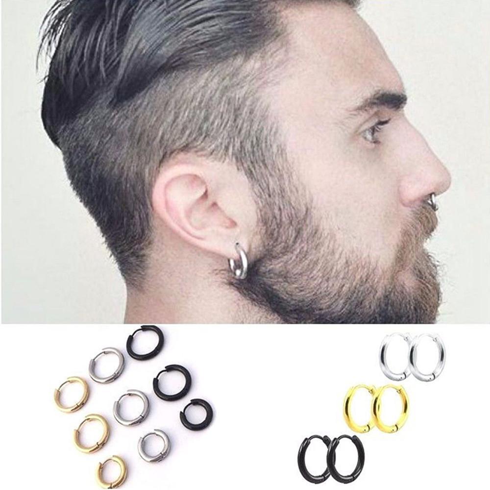 Moda uomo Punk Gothic RVS Simple Round Studio Studio Amante Colori 3 Dimensioni orecchini gioielli