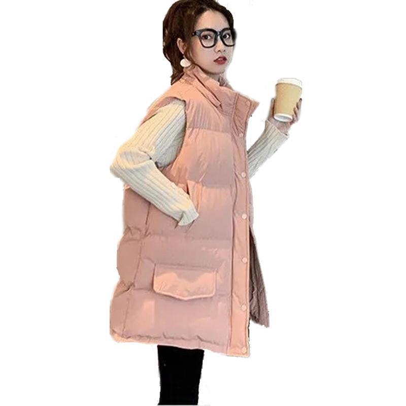 algodón abajo chaleco cálido mujeres capa acolchada media capa suelta abrigo chaleco chaleco con capucha invierno chaleco cálido para mujeres sin mangas 210204