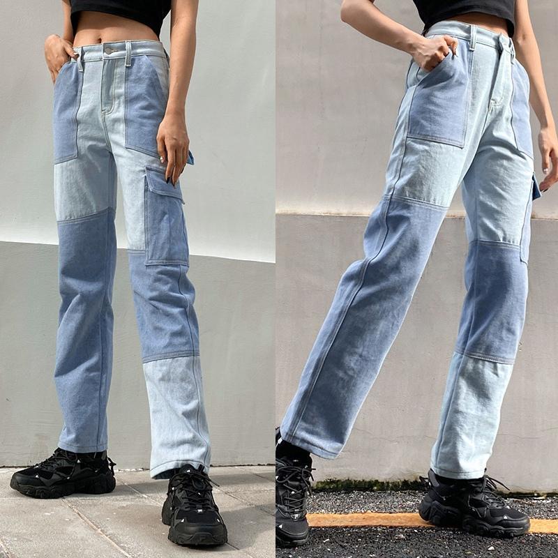 Outono Patchwork Carga Calças Mulheres Streetwear Calças De Cintura Alto Calças Denim Feminino