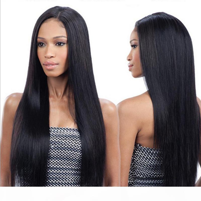 Nova peruca frontal de renda até 250 densidade pré-arrancada Reta Remy Remy cabelo humano pêlos perucas para mulher negra