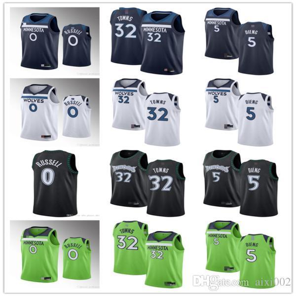 Homens mulheres juventude.Minnesota.Timberwolves.0 d'AngeloRussell 5 Gorgui Dieng 32 Karl-AnthonyCidades jersey de basquete.