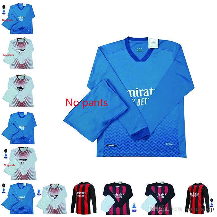 20 21 AC Milan Maniche lunghe Maglie da calcio Ibrahimovic 2021 Rebic Theo Tonali Camicia da calcio Tonali Versione Romagnoli Versione Calhanoglu Men Kit