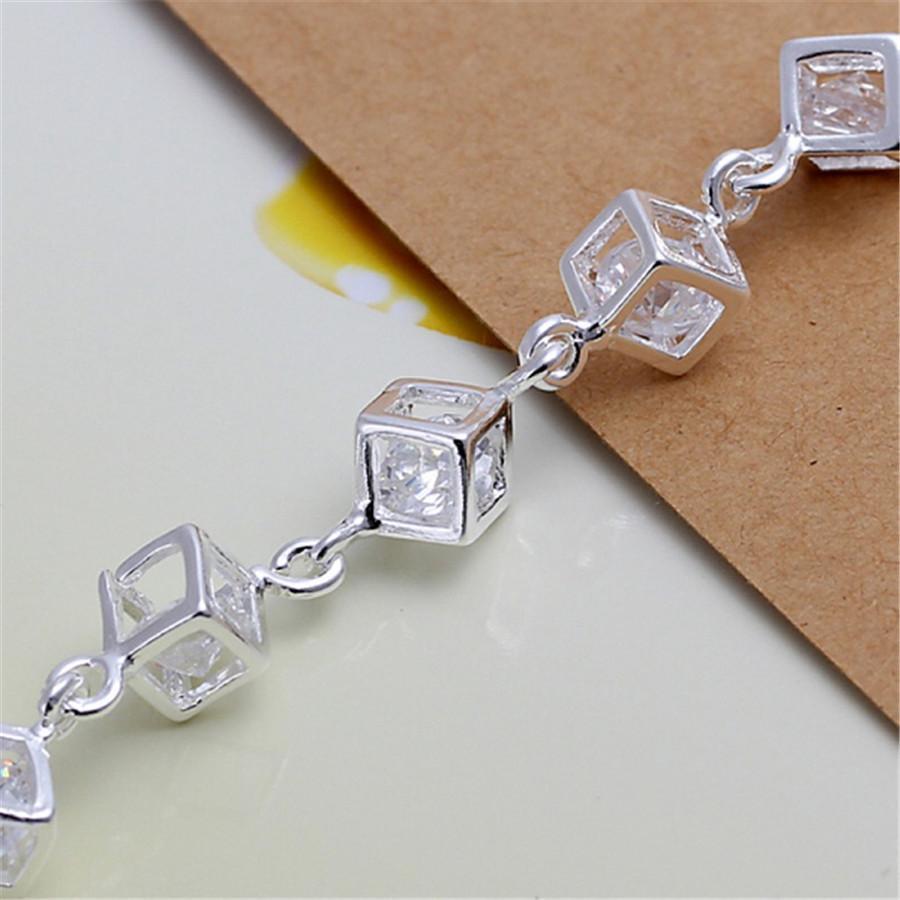 Argent Couleur Classique Cz blanc Crystal Cristal Lattice Nice Femmes Lady Bracelets Nouveau Bijoux de mode de haute qualité Christmas Cadeaux de Noël H Jllwqh