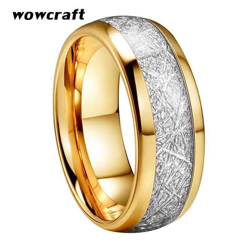 Hommes de 8mm Femmes Gold Tungstène Bague de mariage Polisée Bague de fiançailles de dôme de dôme de météorite brillant avec confort