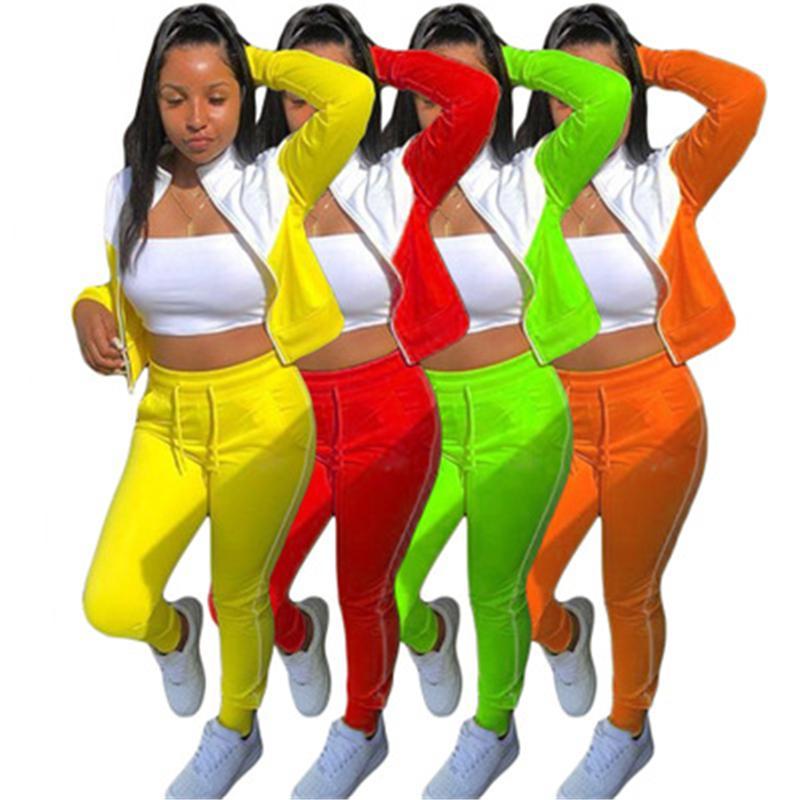 Damen Spleißen Farben 2 stücke Sets Mode Trend Langarm Reißverschluss Tops Hosen Sport Anzüge Designer Weibliche Frühling Neue Casual Skinny Trainingsanzüge