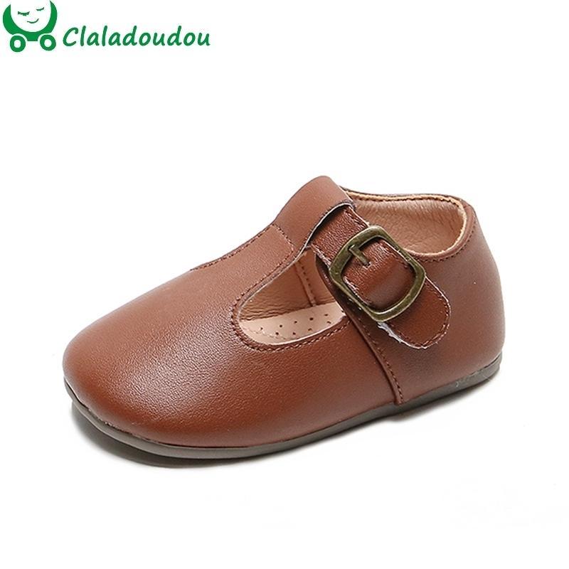 Claladoudou 12- Meninas infantil meninos meninos pu sapatos de couro para primeiro aniversário criança pura marrom bege preto sólido sapatos lj201104