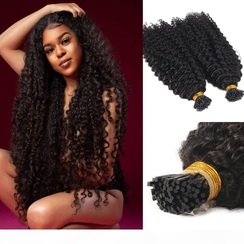 Afro kinky Curly I Tip Human Hair Extension Virgin Brazilian Keratin Pre Bonded Stick I tip Hair Natural Black 100g 1g strand