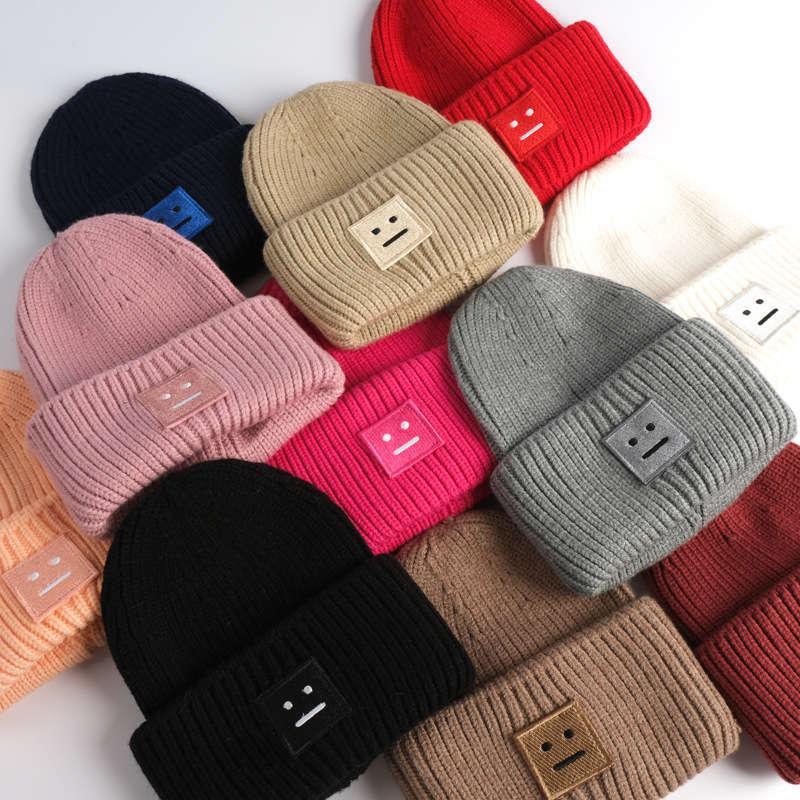 180g kare Gülen yüz örme sonbahar kış sıcak kalınlaşmış yün erkekler ve kadın çiftin soğuk şapka