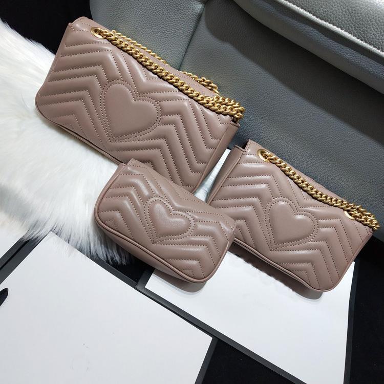Marmont mulheres clássico Saco de Luxo Bolsas Designer bolsas macias de ombro do couro genuíno Bolsas Ladies Coração V Ondas, Bags Bandoleira