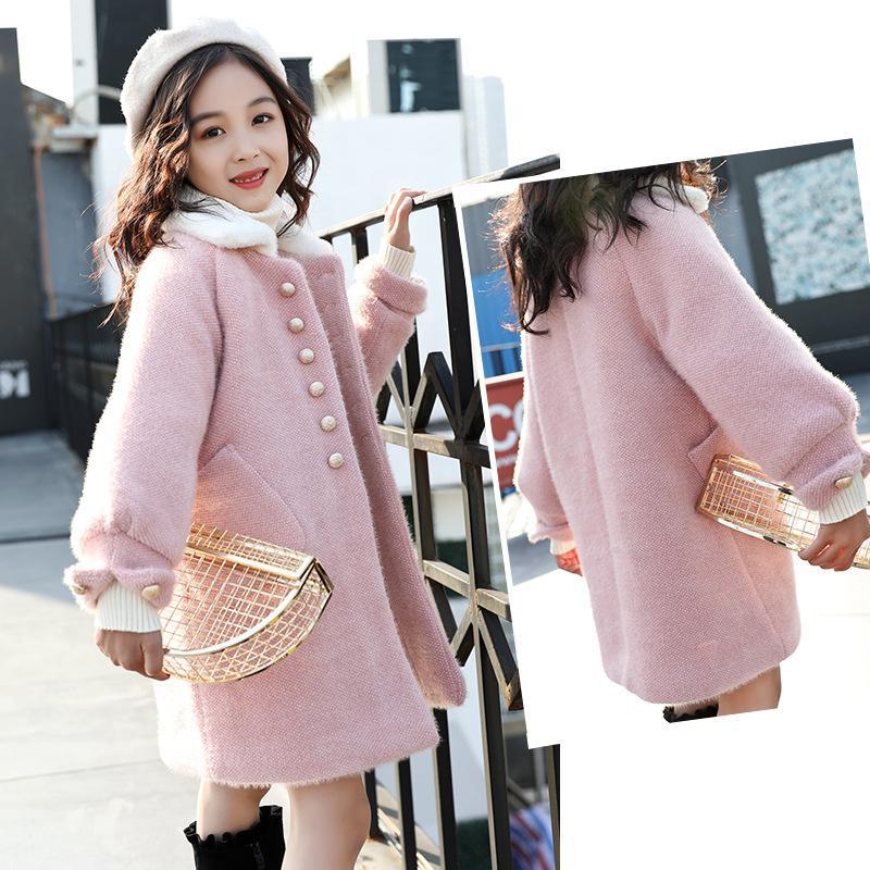 Autumn Winter Kids Girls Faux Mink Fur Wool Outerwear Children Thick Warm Cardigan Coat Teens Girls Plaid Jackets 201110