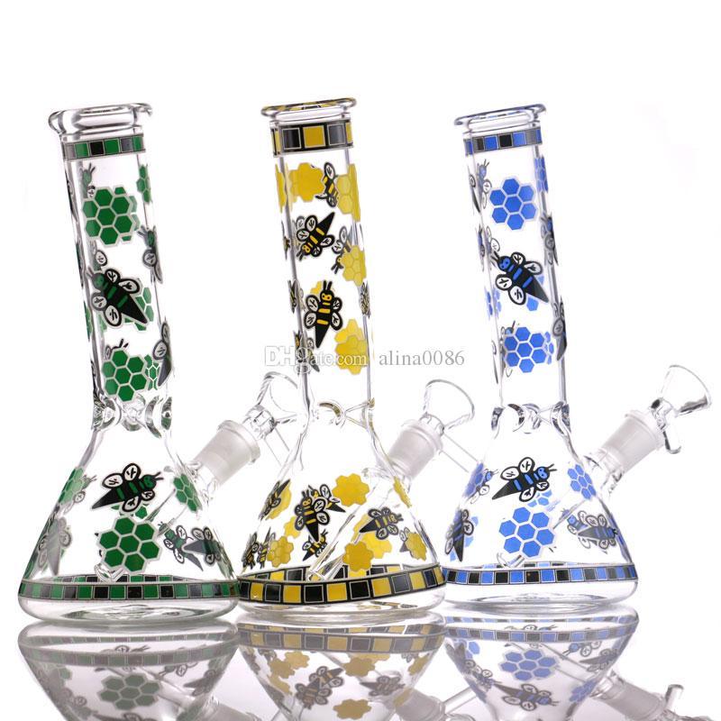 "7,6 ""Recycler Glas DAB RIG Mini Biene Huka Becherbecher Bong Bunte Bubbler Gute Funktion Wasserbongs"