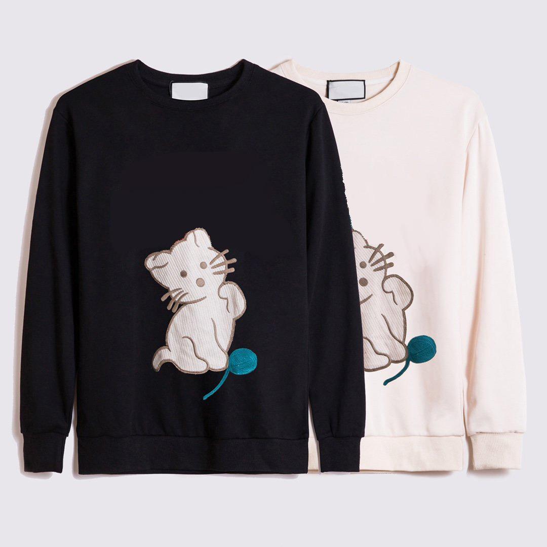 Симпатичные кошки толстовки 20FW круглые шеи Trend письмо животных вышивка узор высококачественный модный женский свитер 2 цвета размером м-2xl--