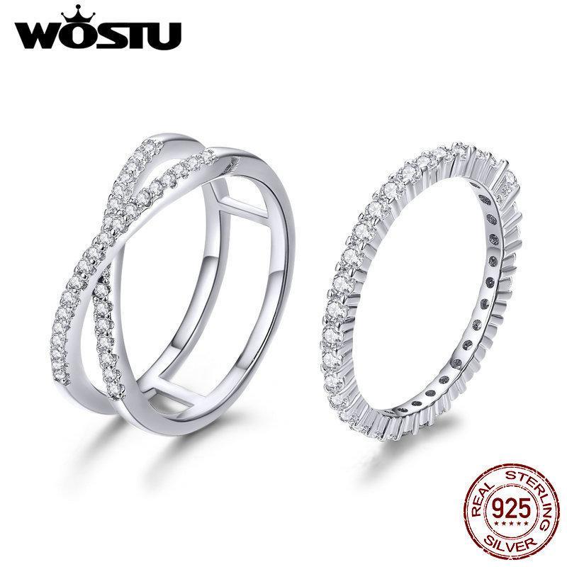 Wostu autentico 100% 925 sterling argento amorevole doppi anelli per donne fidanzamento wedding minimalmalism gioielli in argento regalo CQR463 Z1121