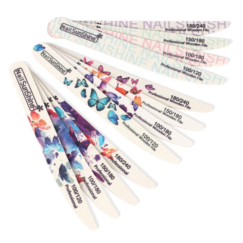 100pcs / lot Sandpaper Nail File 100/180/240 Poltetto in legno spessore Professionale File di Levigatura Professionale Manicure Pedicure Doppio Strumento per unghie
