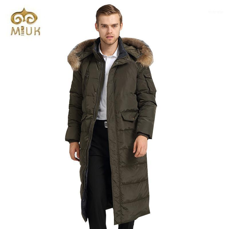 Wholesale- 2016 Fur Collar White Down Thick Hooded Long Knee-Length Winter For Russia Casual Coat Male1 Men's & Parkas