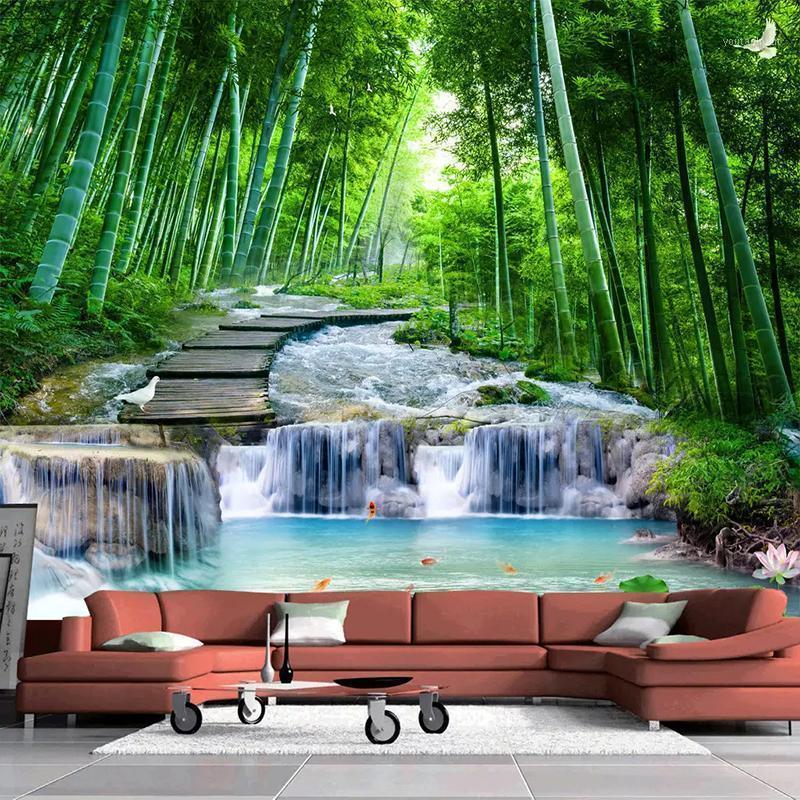 Benutzerdefinierte 3D Foto Tapete Wandgemälde Wohnzimmer Schlafzimmer Bambus Wald Holzbrücke Bach Wasser Mural de Parde Waterfall1