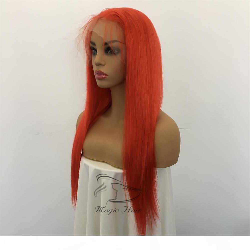Parrucche di capelli umani di pizzo pieno parrucche rosso di colore rosso diritti diritti brasiliani vergine capelli umani 150 densità parrucca anteriore del pizzo con i capelli del bambino Glueless