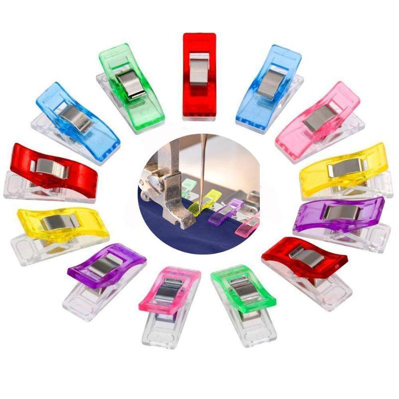 50 / 100pcs fai da te patchwork del lavoro del lavoro del lavoro multicolor clip di plastica multicolor strumenti di cucitura per utensili da cucito accessori per cucire artigianato clip strumenti