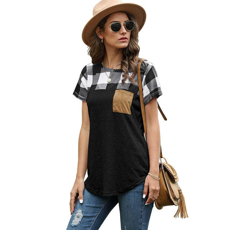 2020 Camiseta a cuadros de cuello redondo de la nueva mujer de verano