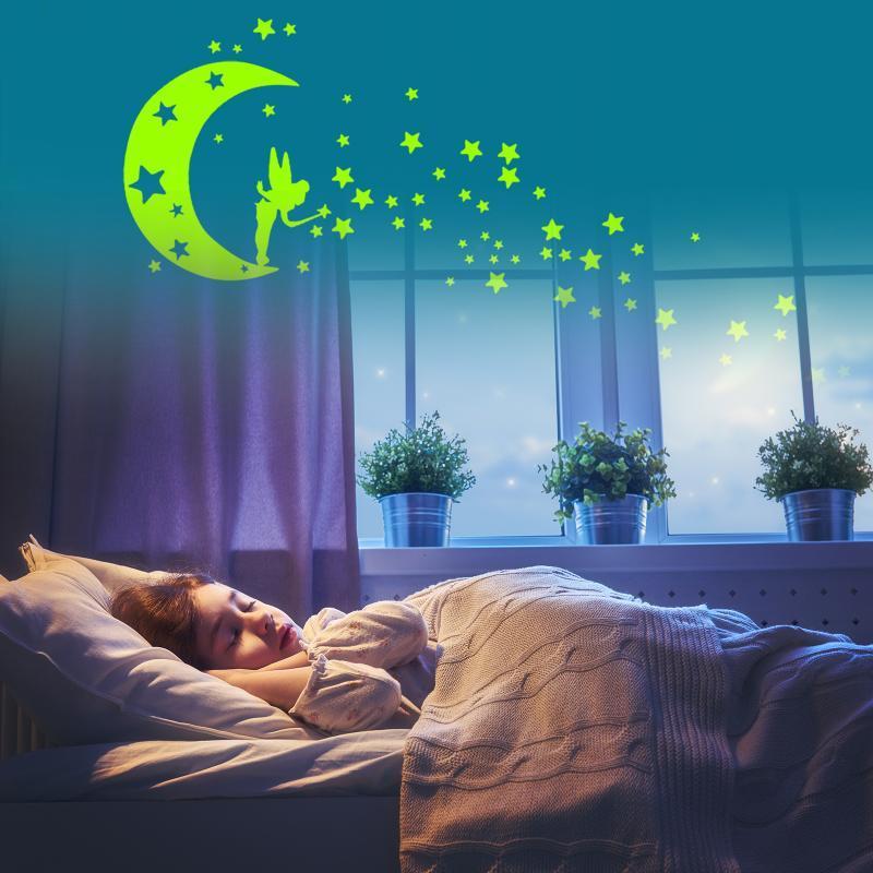 Adesivos de parede fluorescente brilho no escuro removível estrelas auto-adesivas lua anjo luminosa parede decalque para crianças quarto sdf