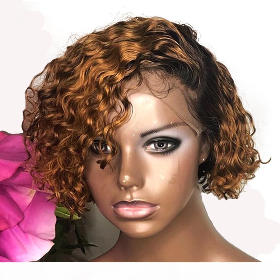 Péruvien Bob Ombre Golden Blonde 13x6 Dentelle Dentelle Frontière Human Hair Perruques avec Cheveux Bébé Perruque en dentelle 360 Dentelle Perruque Frontale Perruque naturelle
