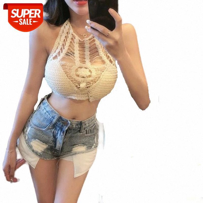 Sexy Dacette Crop Top Femmes Lady Street Stretch Sans manches Camisole Tops Sweater Creux Slim Tricoté Vêtements sans rechange # SB4K