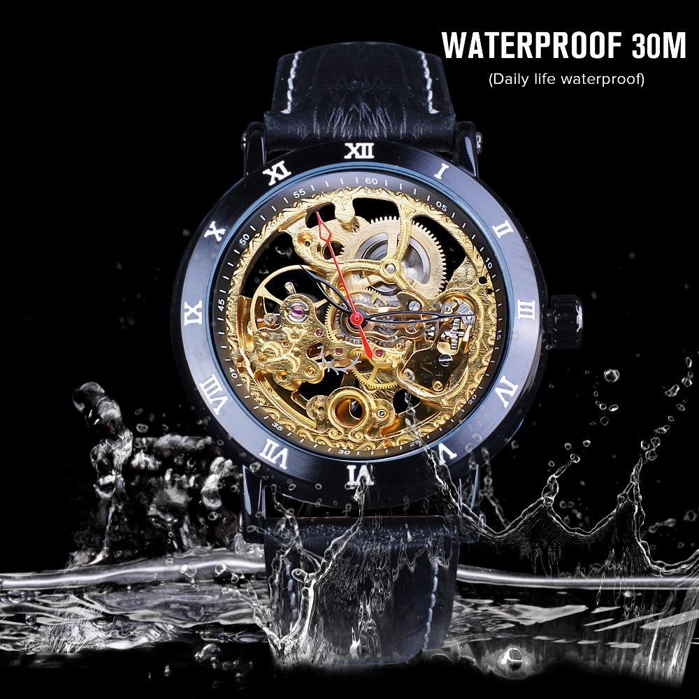 2020 새로운 복고풍 꽃 디자인 고전적인 검은 황금 시계 정품 가죽 밴드 방수 남성 기계 자동 자동 시계