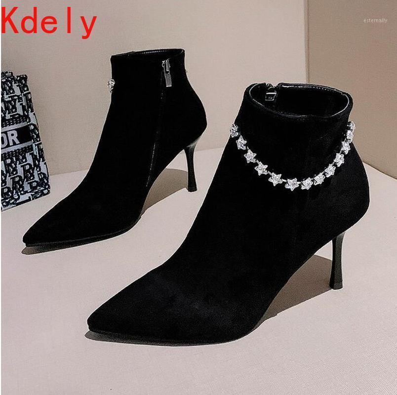 أحذية النساء أزياء نمط الكاحل الجوارب زيبر سلسلة الماس المشي الترفيه لربيع الجودة ممتازة أشار تو المرأة 1