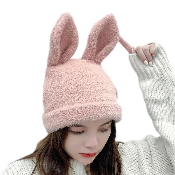 Donne inverno knit beanie cappello cappello orecchie a colori solido all'aperto skuly skullies tappo auricolare per orecchio calda