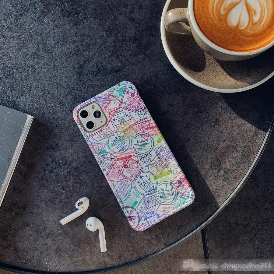 Coque souple en silicone de voyage pour iPhone 11 Pro Post drôle carte postale Passport Timbres-poste pour iPhone 6 6S 7 8 plus xs max xr x
